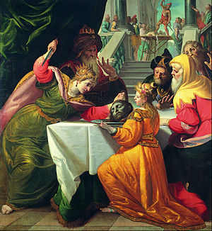 Herodias presented with the Head of the Baptist by Salome