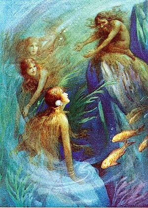 Rhinemaidens - Andvari and the Rhinemaidens - Illustration by Harry George Theaker for Children's Stories from the Northern Legends by M. Dorothy Belgrave and Hilda Hart, 1920