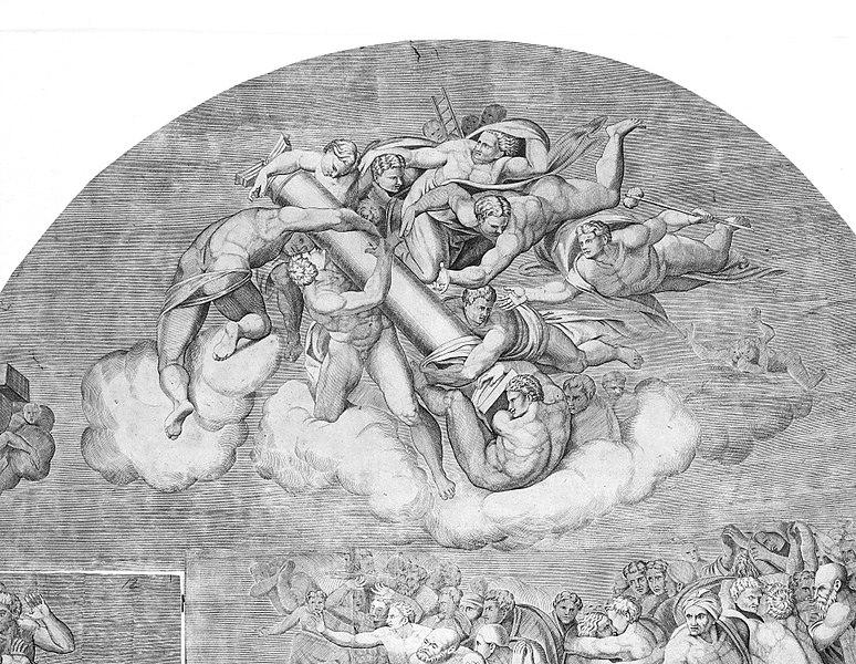 File:Angels Carrying Pillar with Saints Below (upper right section of the Last Judgment) MET MM55716.jpg