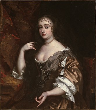 "Anne Hyde - c. 1665 portrait by Sir Peter Lely. ""Anne's teasing playing of her hair is deliberately suggestive of a royal consort's prime role – breeding – but also a reminder of her great wit."""