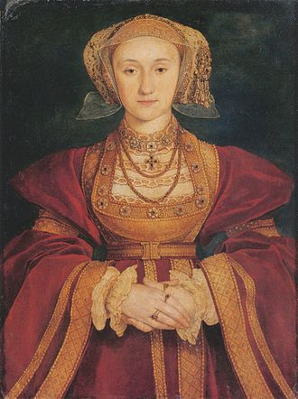 Anne of Cleves - Portrait by Hans Holbein the Younger, c. 1539. Oil and Tempera on Parchment mounted on canvas, Musée du Louvre, Paris.