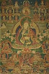 Painted Banner (Thangka) of Sage Guru Padmasambhava Seated Holding a Thunderbolt (Vajra) and Skull Cup (Kapala)