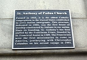 St. Anthony of Padua Church (Manhattan) - Image: Anthony of Padua RCC Sullivan St plaque jeh