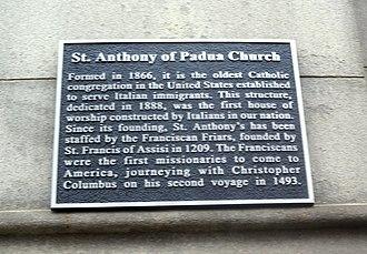 St. Anthony of Padua Church (Manhattan) - Image: Anthony of Padua RCC Sullivan St plaque jeh