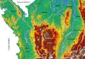 Mapa Físico Antioquia