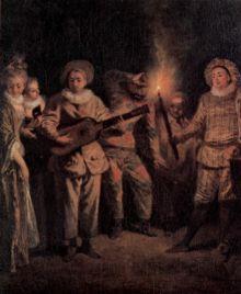 Antoine Watteau -Commedianti Italiani (al centro l'Arlecchino Tommaso Visentini)