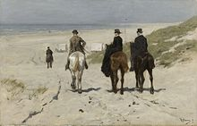 a group of well dressed equestrians, the lady riding sidesaddle, descend from the dunes to the beach at Scheveningen towards the bathing huts, their horses leaving droppings in the sand