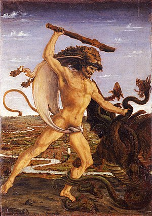 Hercules - Hercules and the Hydra (ca. 1475) by Antonio del Pollaiuolo; the hero wears his characteristic lionskin and wields a club