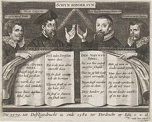 Antony van der Does - Satirical print on Protestant bible publications