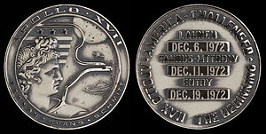 Apollo 17 - Apollo 17 space-flown silver Robbins medallion