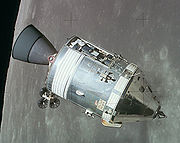 The Apollo 15 Command/Service Module as viewed from the Lunar Module on August 2, 1971.