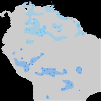 Arawak - Arawakan languages in Southamerica. The northern Arawakan languages are colored in light blue, while the southern Arawakan languages are colored in dark blue.
