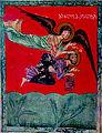 Archangel Michael takes Babakkuk to Daniel in the lion's Den (The Mokvi Four Gospels 1300).jpg