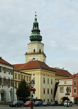 This medieval tower of the Kroměříž Castle was capped by a decorative drum and spire during the Baroque renovation in the 17th century.