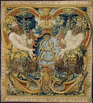 Jagiellonian tapestries - Tapestry with shield-bearing satyrs and monogram SA of king Sigismund Augustus, ca. 1555.