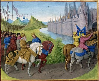 Manuel I Komnenos - Arrival of the Second Crusade before Constantinople, portrayed in Jean Fouquet's painting from around 1455–1460, Arrivée des croisés à Constantinople.