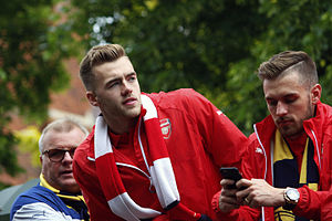 Calum Chambers - Chambers (centre) during the victory parade that followed Arsenal's victory in the 2015 FA Cup Final