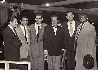 "Louie Bellson - From left: Chris Gage, Louie Bellson, Stan ""Cuddles"" Johnson, Tony Gage, Fraser MacPherson, Harry Carney (Photo from the Fraser MacPherson estate)"