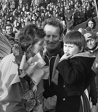 Atje Keulen-Deelstra - Atje Keulen-Deelstra with husband and son in 1972