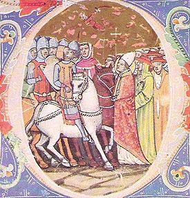 An illustration of the meeting from the Chronicon Pictum, c. 1360.