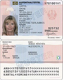 Specimen of a residence permit for a Turkish citizen