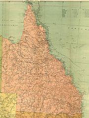 Map of Queensland in 1916