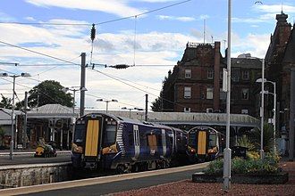 Ayr railway station - Ayr Railway Station, with Abellio ScotRail Class 380s in the bay platforms