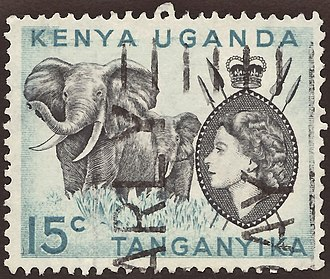 Uganda Protectorate - Stamp of British East Africa with portrait of Queen Elizabeth II
