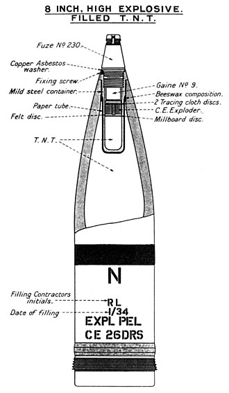 BL 8 inch Mk VIII naval gun - Image: BL8inch HE Naval Shell Diagram 1934