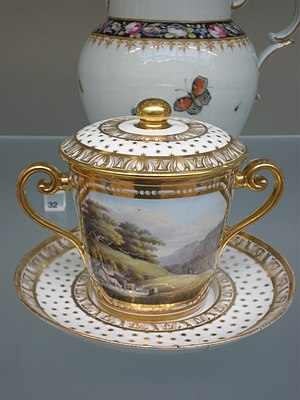 Bone china - Staffordshire bone china covered chocolate cup, with enamels and gilding, c. 1815–20, Victoria and Albert Museum