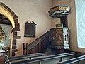 BORRE KIRKE medieval church Horten Norway 2021-07-08 Interior Prekestol pulpit c 1600 etc IMG 7977.jpg