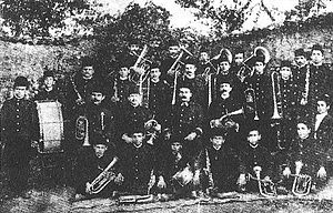Music of Albania - Photo of the Band of Freedom, a musical group of the Albanian National Awakening that was active in the city of Korçë, 1909.