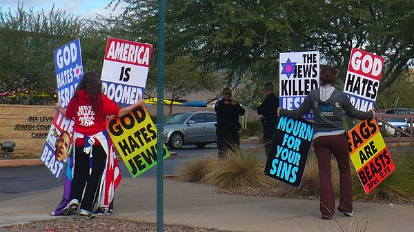 A protest against Jews, held by the Westboro Baptist Church. Baptists-against-jews.jpg