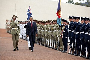 Guard of honour - U.S. President Barack Obama inspects Australia's Federation Guard at a guard of honour ceremony.