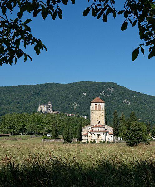 Basilique Saint-Just in Valcabrère and Cathédrale Notre-Dame in Saint-Bertrand-de-Comminges in background