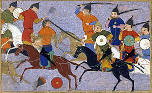 Mongol conquest of China - Battle between the Mongol and Jin Jurchen armies in north China in 1211 depicted in the Jami' al-tawarikh (Compendium of Chronicles) by Rashid-al-Din Hamadani.