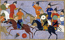 Jin cavalry fighting a battle against Mongol cavalry