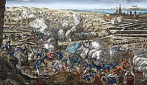 Tysk samtidigt kobberstik, der illustrerer Slaget ved Helsingborg. Kunstner ukendt.