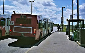 Bayview station (Ottawa) - Buses are served by stops on each side of the transitway