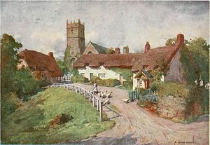 Godshill - Caption: Is one of the prettiest villages in the island. - From the Beautiful Britain series, The Isle of Wight, by G. E. Mitton.