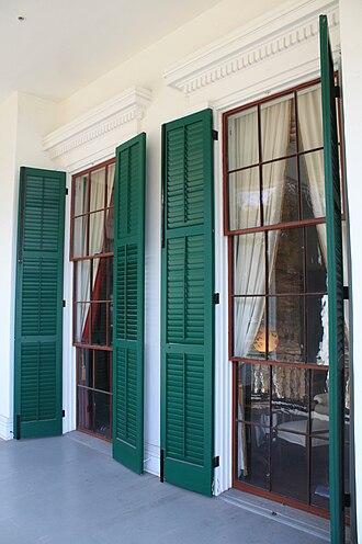 Beauvoir (Biloxi, Mississippi) - Beauvoir (After Katrina restoration), detail of front windows.