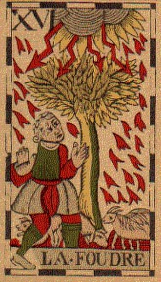 The Tower (Tarot card) - The Belgian Tarot depicts a tree struck by (la foudre = strike of lightning) .