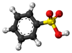 Ball-and-stick model of the benzenesulfonic acid molecule