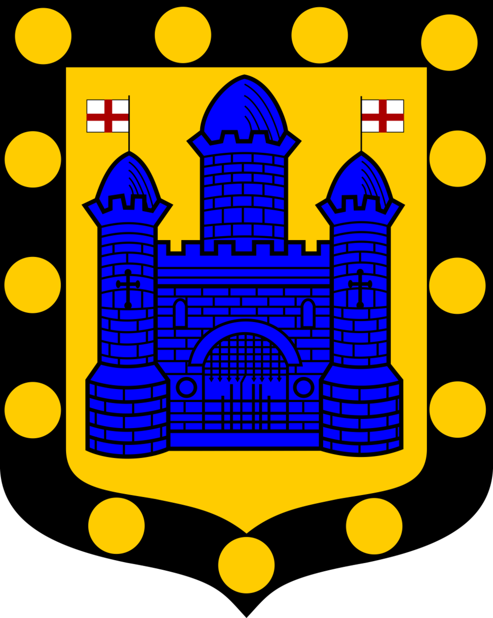 The town's coat of arms, a castle surrounded by 13 solid gold circles or heraldic bezants.