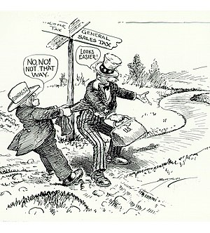 "FairTax - ""No, No! Not That Way""—Political cartoon from 1933 commenting on a general sales tax over an income tax."