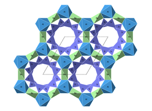 Beryl crystal structure with view down Caxis