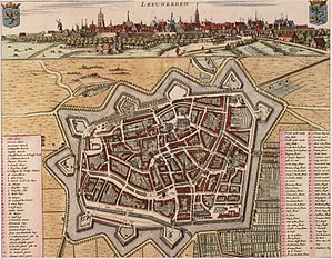 Leeuwarden - Historical map of Leeuwarden 1664