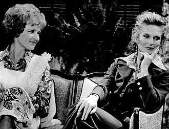 Cloris Leachman - Betty White (left) and Leachman (right) as Sue Ann Nivens and Phyllis Lindstrom on The Mary Tyler Moore Show (August 1973)