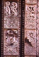 Floral design on one of the walls of the temple