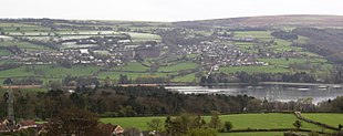 Blagdon with the lake in the foreground